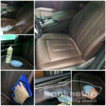 Очистка кожи авто паром и нанесение кондиционера кожи для сидений авто