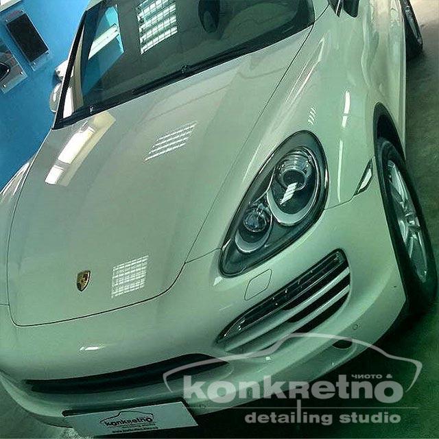 Полировка Porsche Cayenne белого цвета