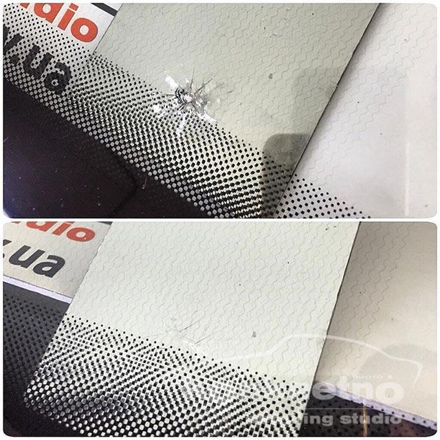 Ремонт скола лобового стекла в зоне шелкографии